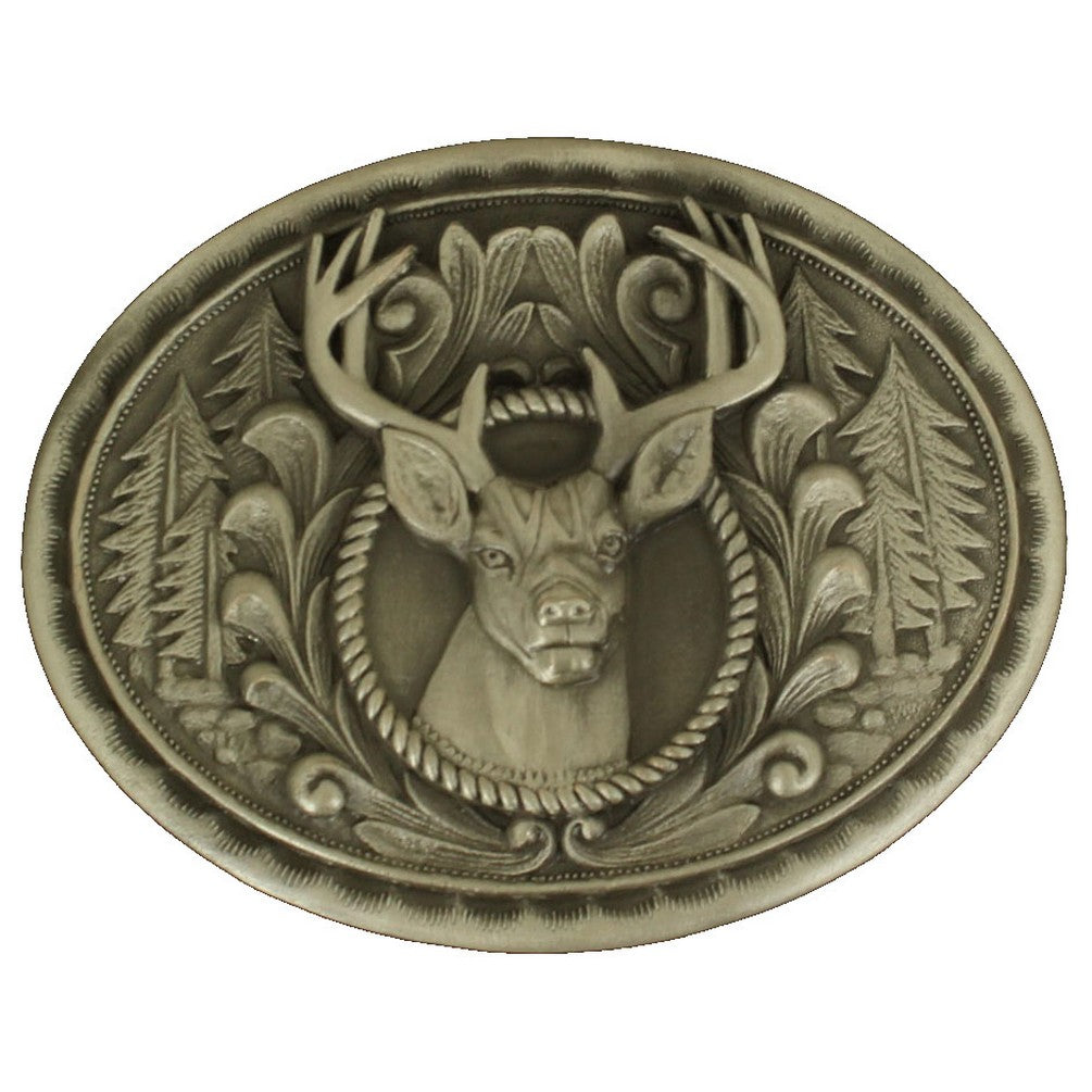 Nocona Buck In Center Smooth Edge Oval Belt Buckle