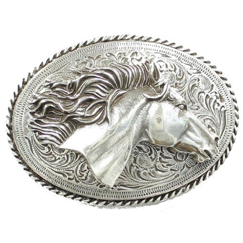 Nocona Flowing Mane Horse Head Buckle