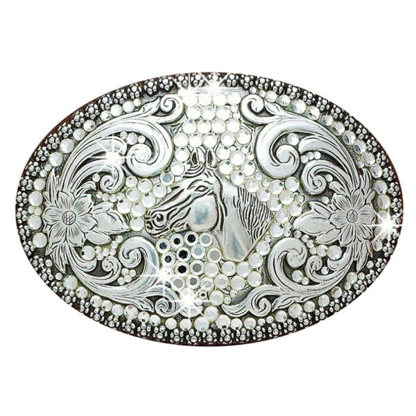 Nocona Ladies' Oval Horse Head w/ Rhinestones Buckle