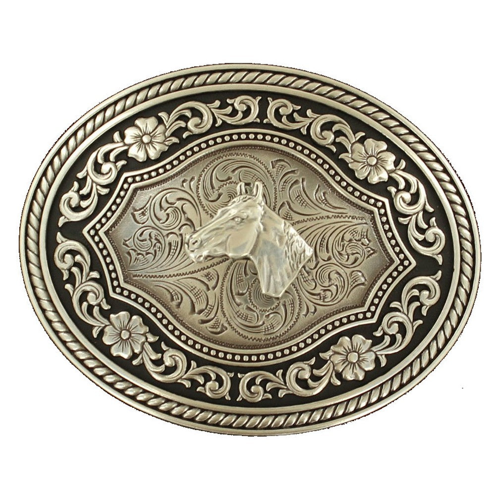 Nocona Oval Rope Edge Horsehead Belt Buckle