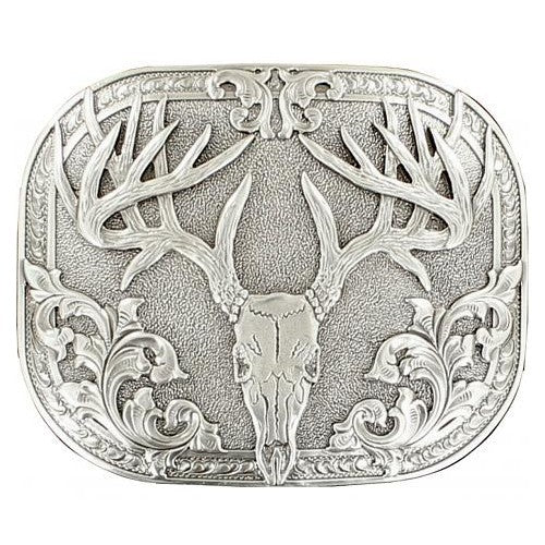 Nocona Silver Plated 8-Point Buck Belt Buckle