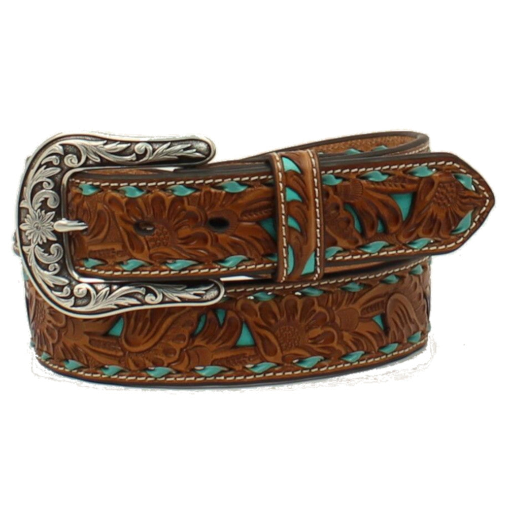 Nocona Womens' Turquoise Buckstitch Laced Western Belt