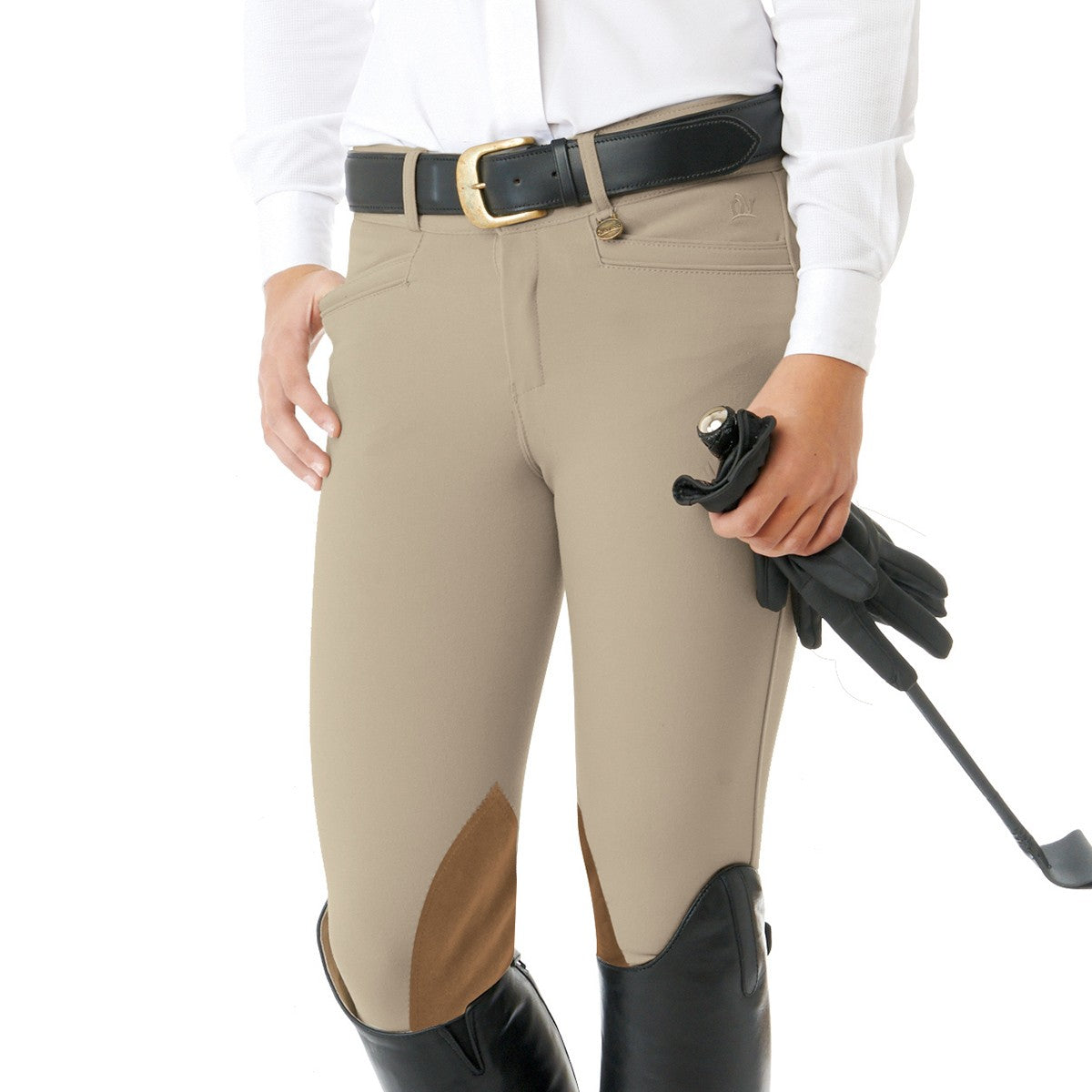 Ovation Kids' Celebrity EuroWeave DX Euro Seat Front Zip Knee Patch Breeches