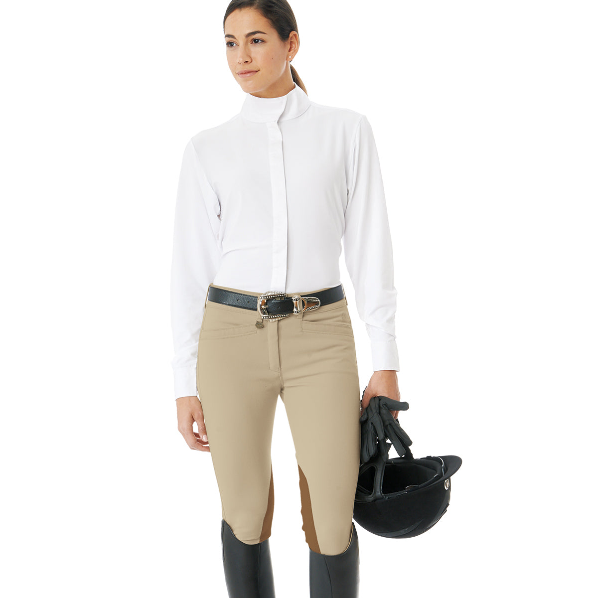 Ovation Women's Celebrity Slim Secret EuroWeave DX Euro Seat Front Zip Knee Patch Breeches