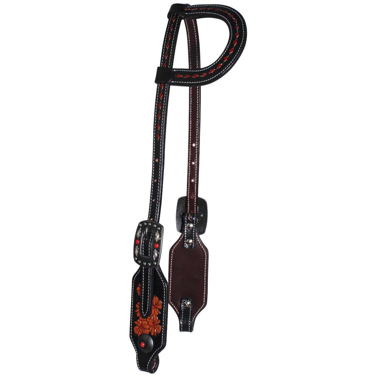 Professional's Choice Black & Red Forget-Me-Not Single Ear Headstall
