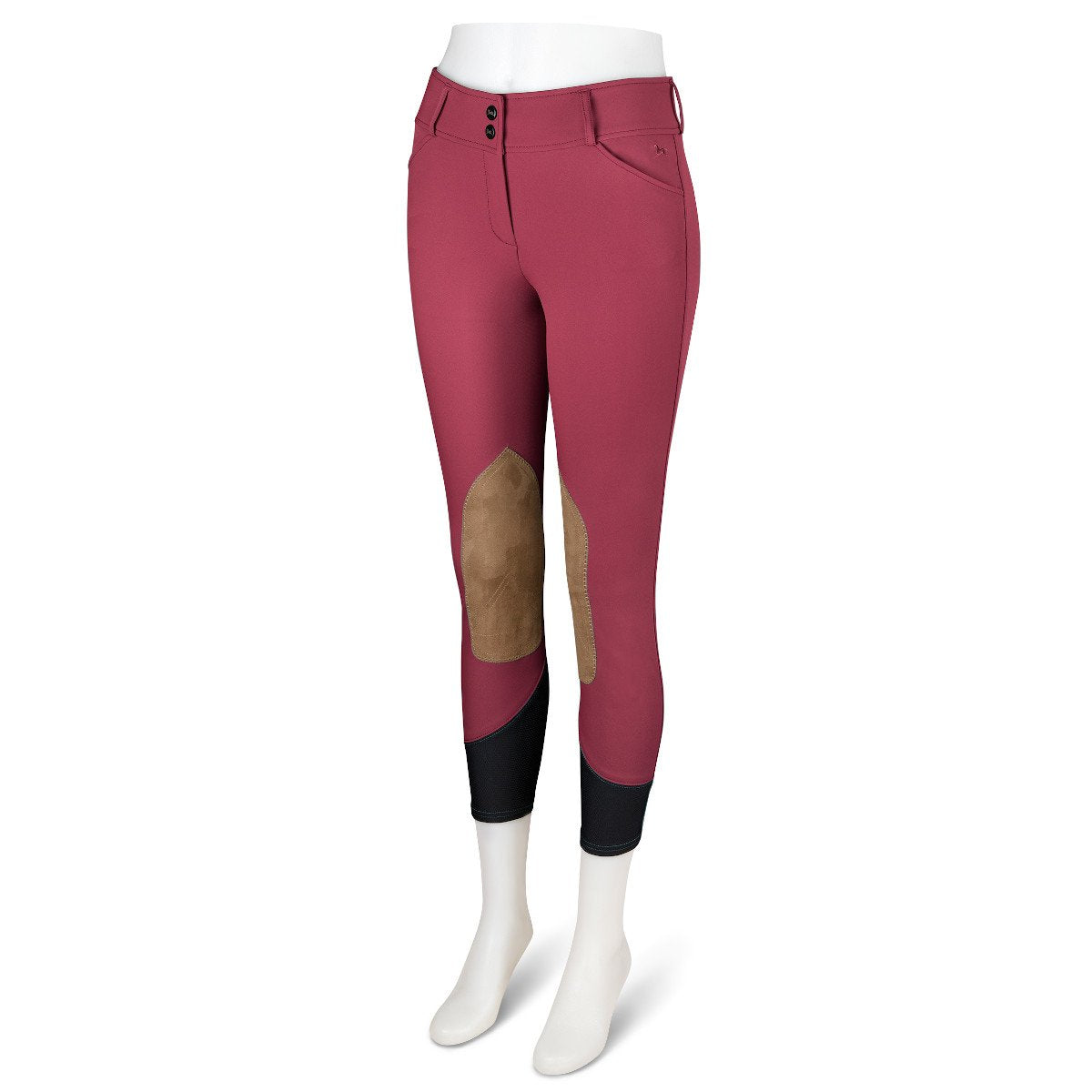 R.J. Classics Women's Strawberry Jam Gulf Natural Rise Front Zip Knee Patch Breeches