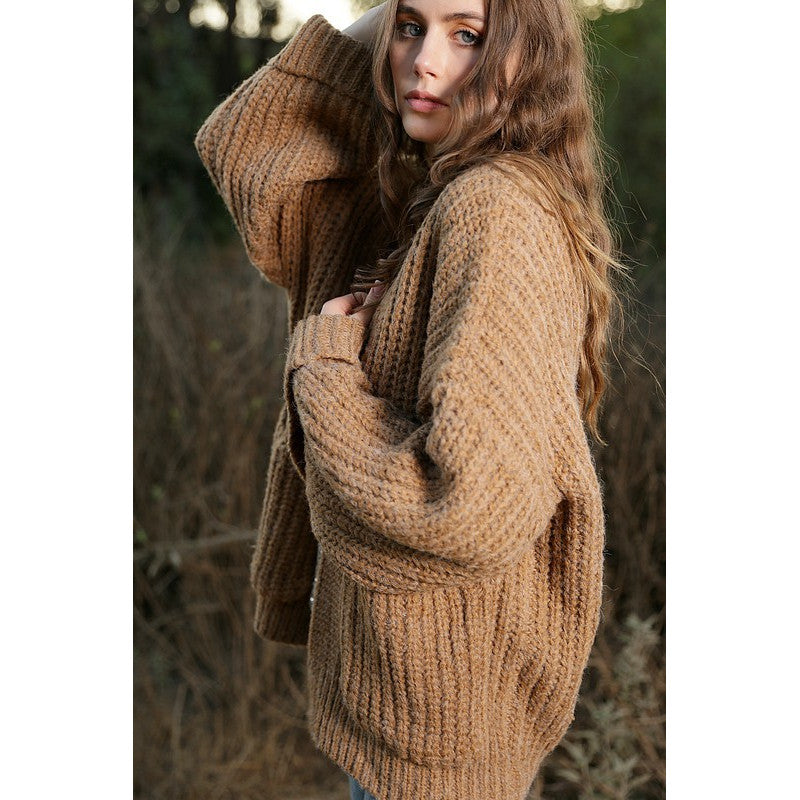 Women's Oversize Low Gauge Knit Sweater Cardigan