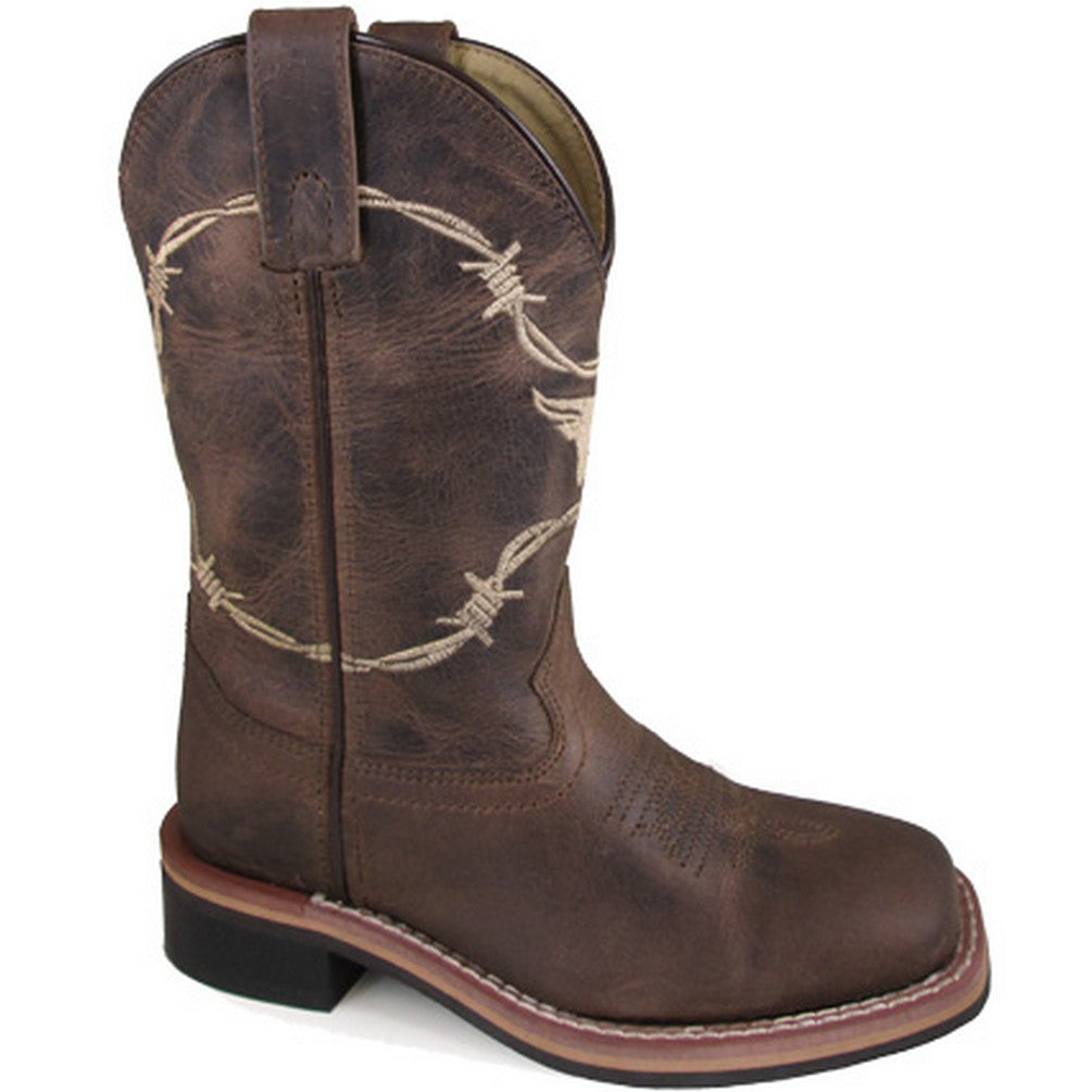 Smoky Mountain Kids' Brown Logan Barbed Wire Cowboy Boots