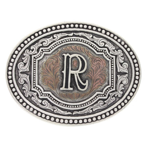 Montana Silversmiths Initial Two Tone Cameo Belt Buckle