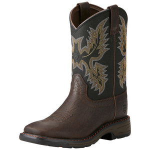 Ariat Kids' Bruin Brown WorkHog Wide Square Toe Cowboy Boots