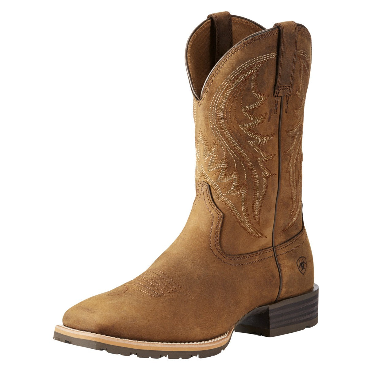 Ariat Men's Distressed Brown Hybrid Rancher Square Toe Cowboy Boots