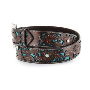 Ariat Women's Turquoise Inlay Floral Tooled Western Belt