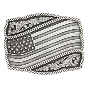 Montana Silversmiths Classic Impressions Waving American Flag Attitude Belt Buckle