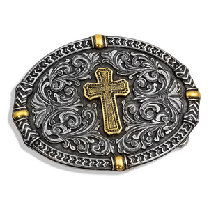 Montana Silversmiths Two Tone Center of Faith Cross Belt Buckle
