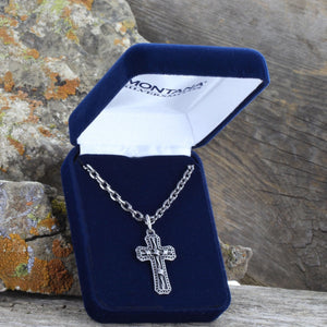 Montana Silversmiths Men's Antiqued Stainless Barbed Wire Cross Necklace