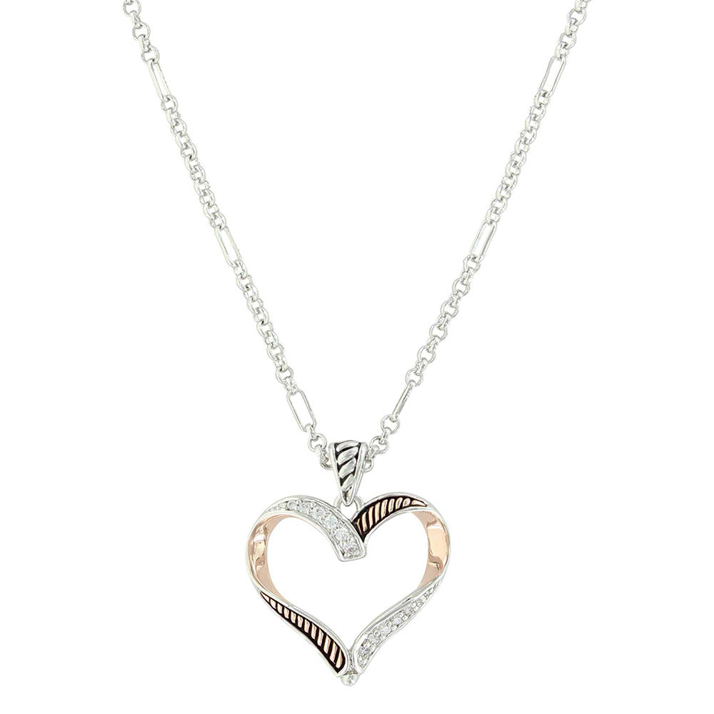 Montana Silversmiths Facets of Love Rose Gold Heart Necklace