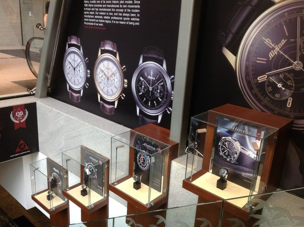 ALPINA – AROUND THE WORLD – ORIENTAL WATCH CO LTD: 100,QUEEN'S ROAD, CENTRAL, HONG KONG. 130 YEARS OF WATCHMAKING ON DISPLAY.
