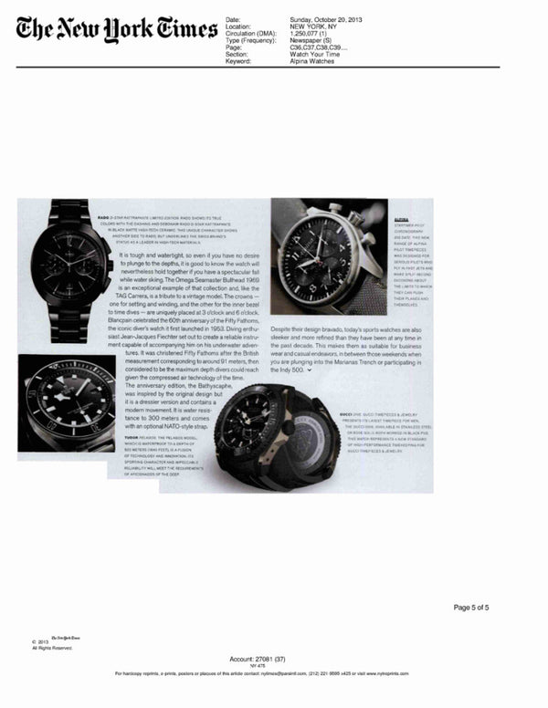 "NEW YORK TIMES WATCH SUPPLEMENT MAGAZINE, ""WATCH YOUR TIME"""