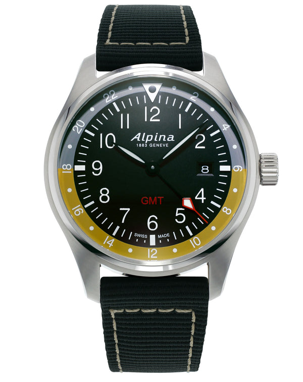 Startimer Pilot Quartz GMT Black | Date Window | Alpina Watch
