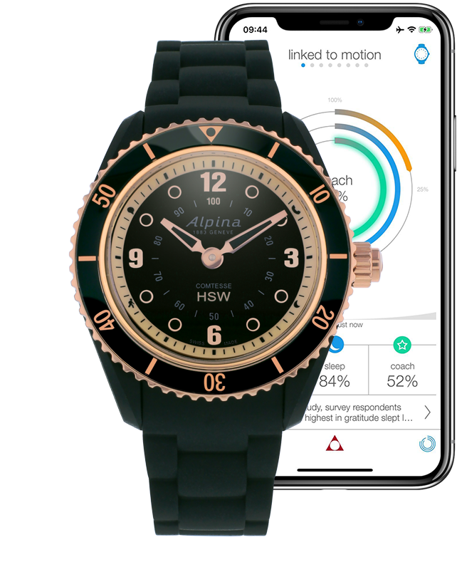 Ladies Horological Smartwatch Black Bracelet | Alpina Watches
