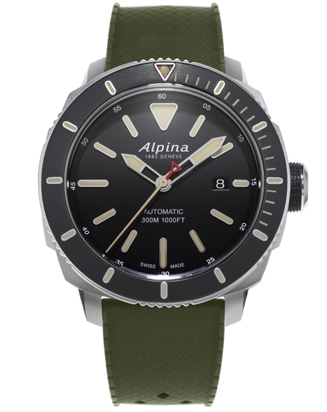 Seastrong Diver 300 Matte Black | Nubuck Strap | Alpina Watches