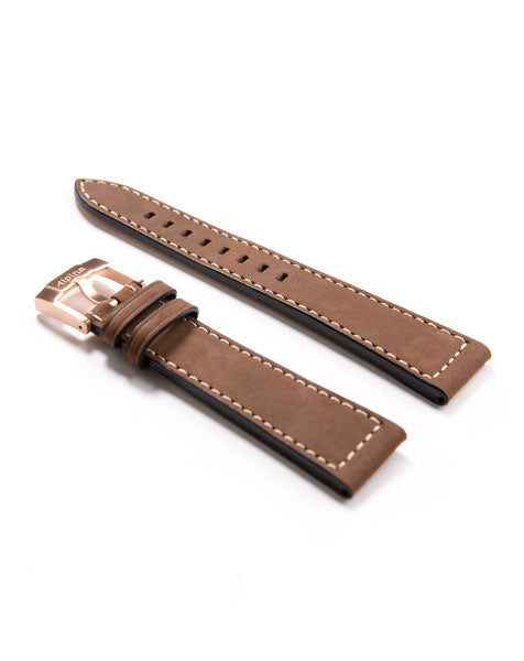 Startimer Pilot Automatic Dark Brown Leather Watch Strap