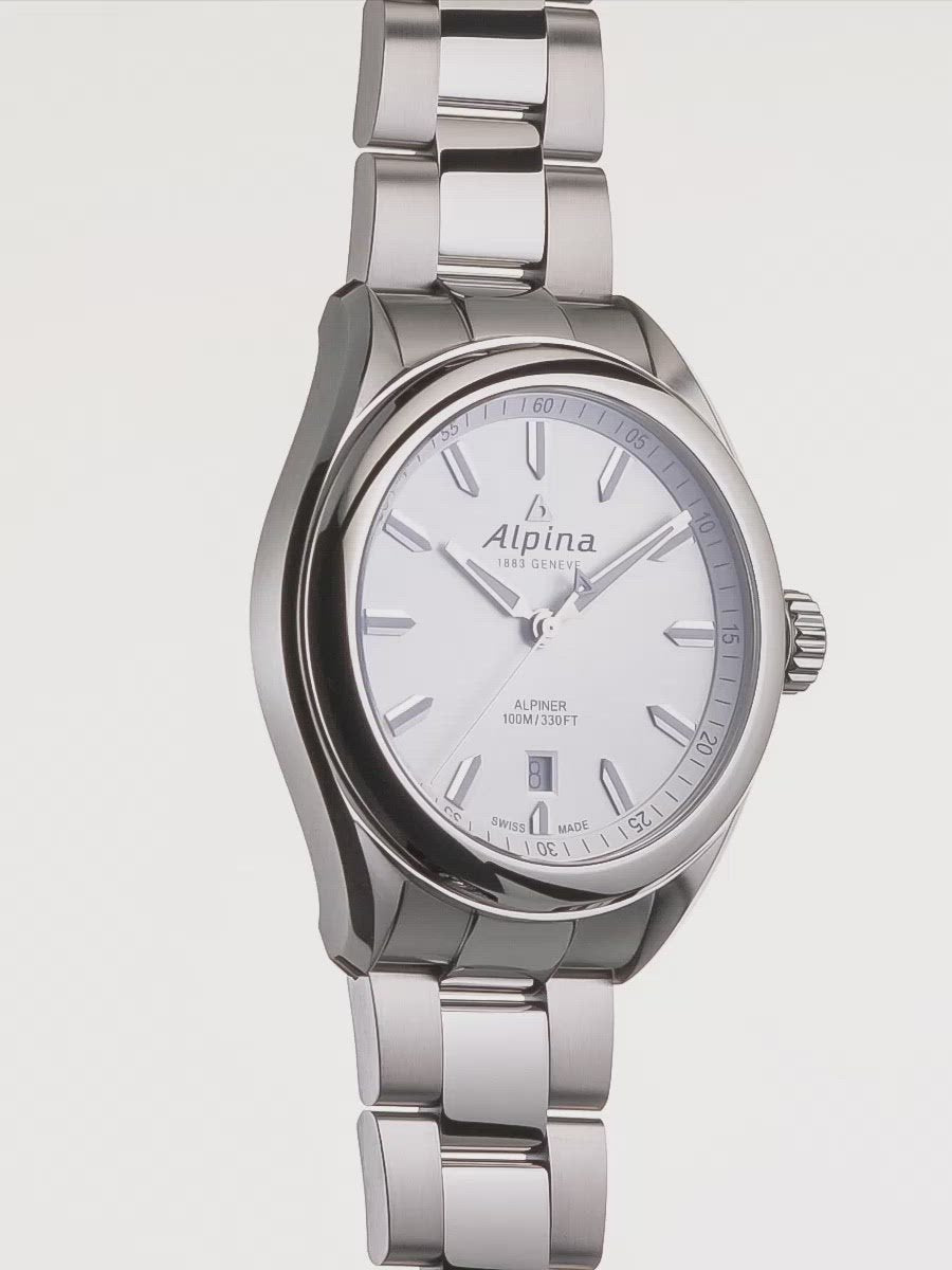 Alpiner Quartz Silver Bracelet | Date Window | Alpina Watches