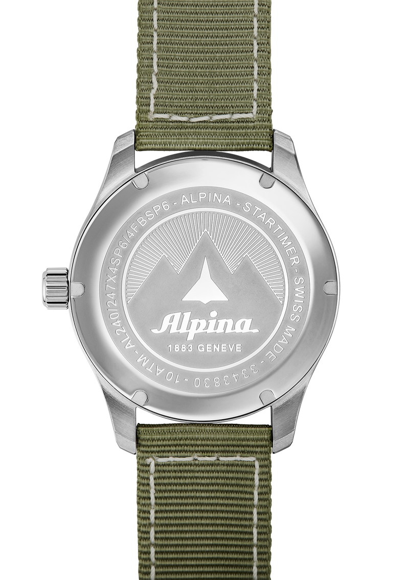 Startimer Pilot Quartz White | Green Nylon Strap | Alpina Watches