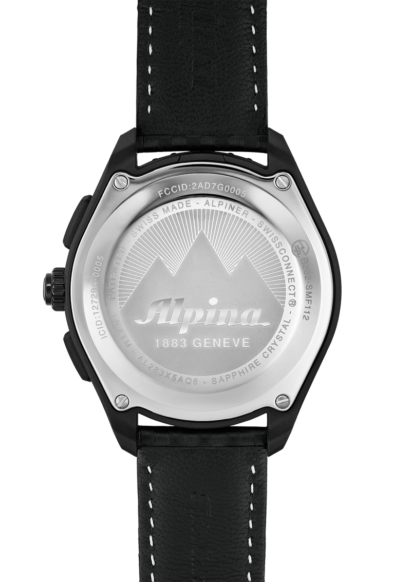 Black Leather Outdoor Smart Watch | Alpinerx Black/Black | UV Indicator | Alpina Watches
