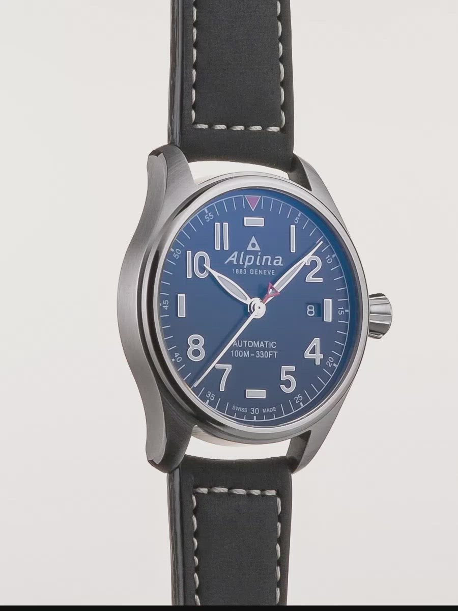 Automatic Matte Dark Blue | Startimer Pilot | Alpina Watches