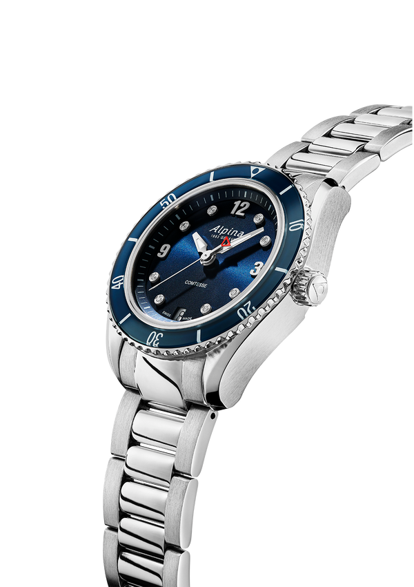 Men's Quartz Watch | Alpiner Comtesse Sports Quartz Blue Bracelet | Alpina Watches