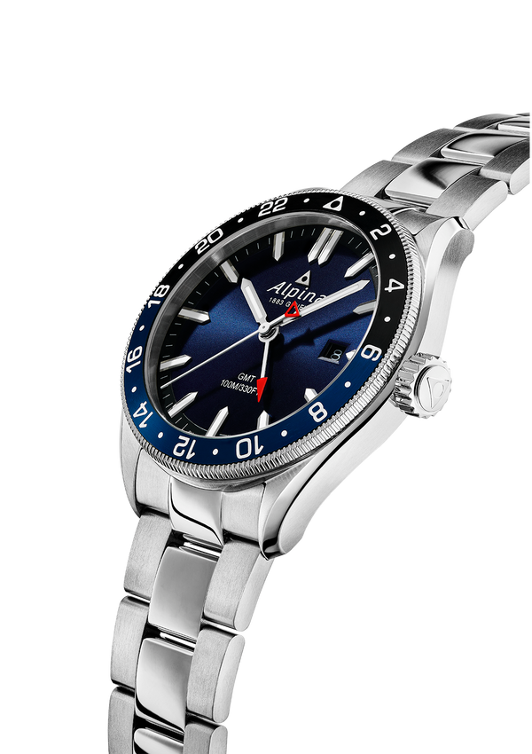 Watches For Men | Alpiner Quartz GMT Navy Blue Bracelet | Navy Dial | Alpina Watches