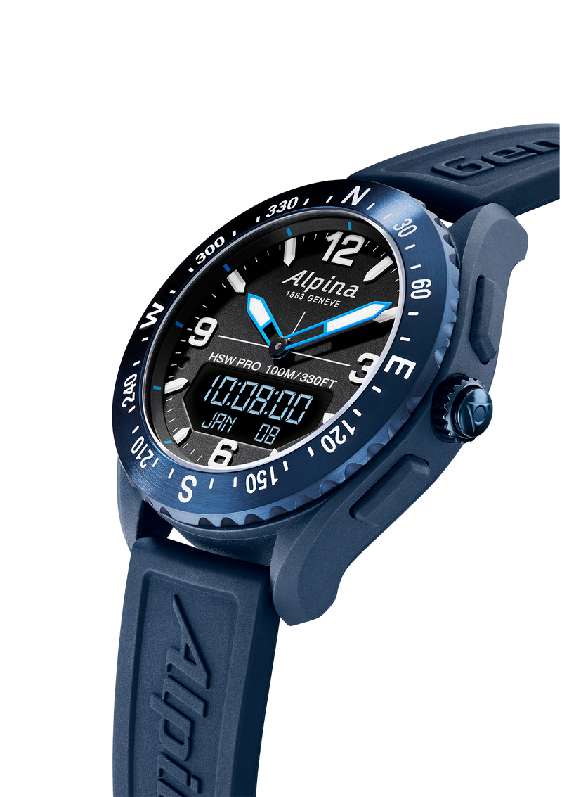 Blue Outdoor Smart Watches For Men Alpinerx Black/Blue | Dynamic Coach Tracker | Alpina Watches