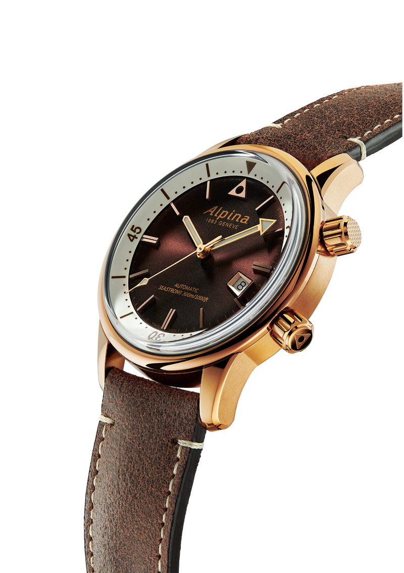 Seastrong Diver Heritage Brown | Gold-Plated | Alpina Watches