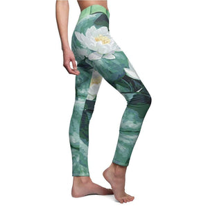 Green Flower Lotus Yoga Pants