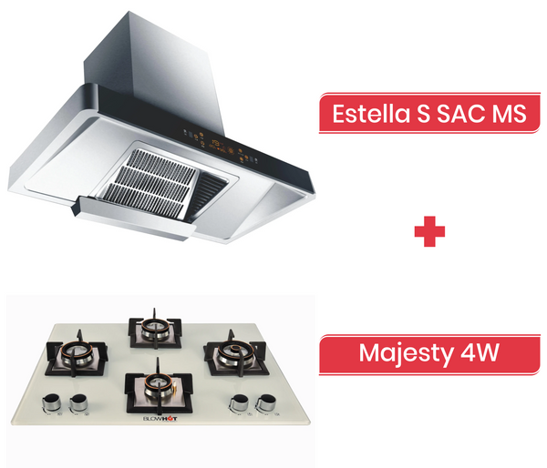 Estella S SAC MS Chimney + Majesty 4W Gas Hob