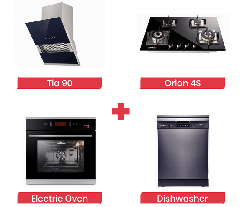 Tia 90 Chimney + Orion 4S Gas Hob + Electric Oven + Dishwasher