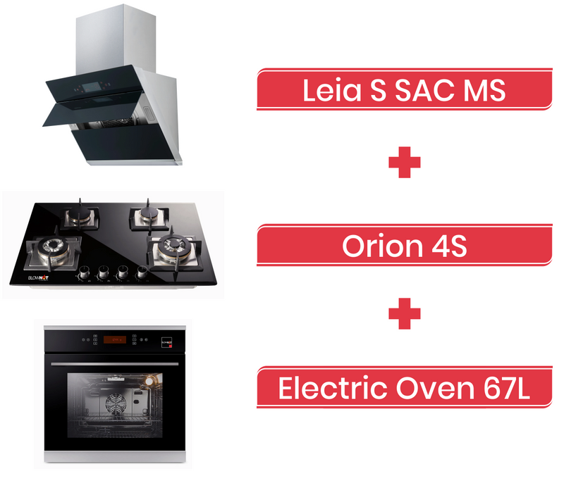 Leia S SAC MS Chimney + Orion 4S Gas Hob + Electric Oven 67L