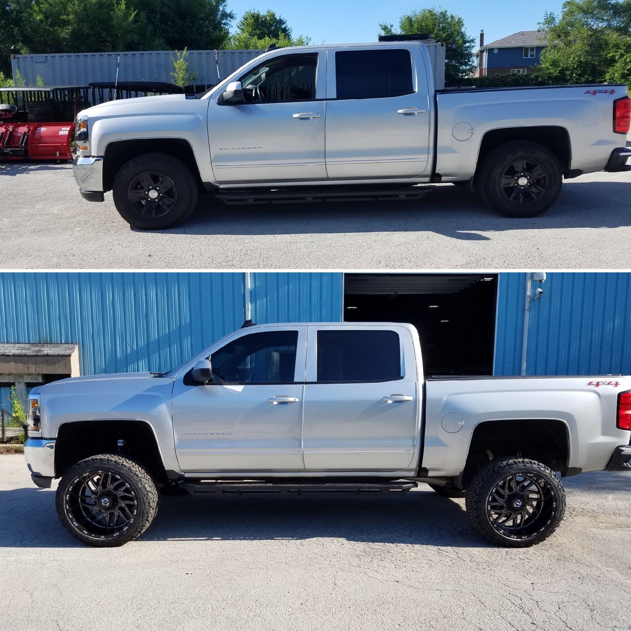 lift kit installation before and after 2017 chevy silverado with 6.6 inch zone offroad lift kit