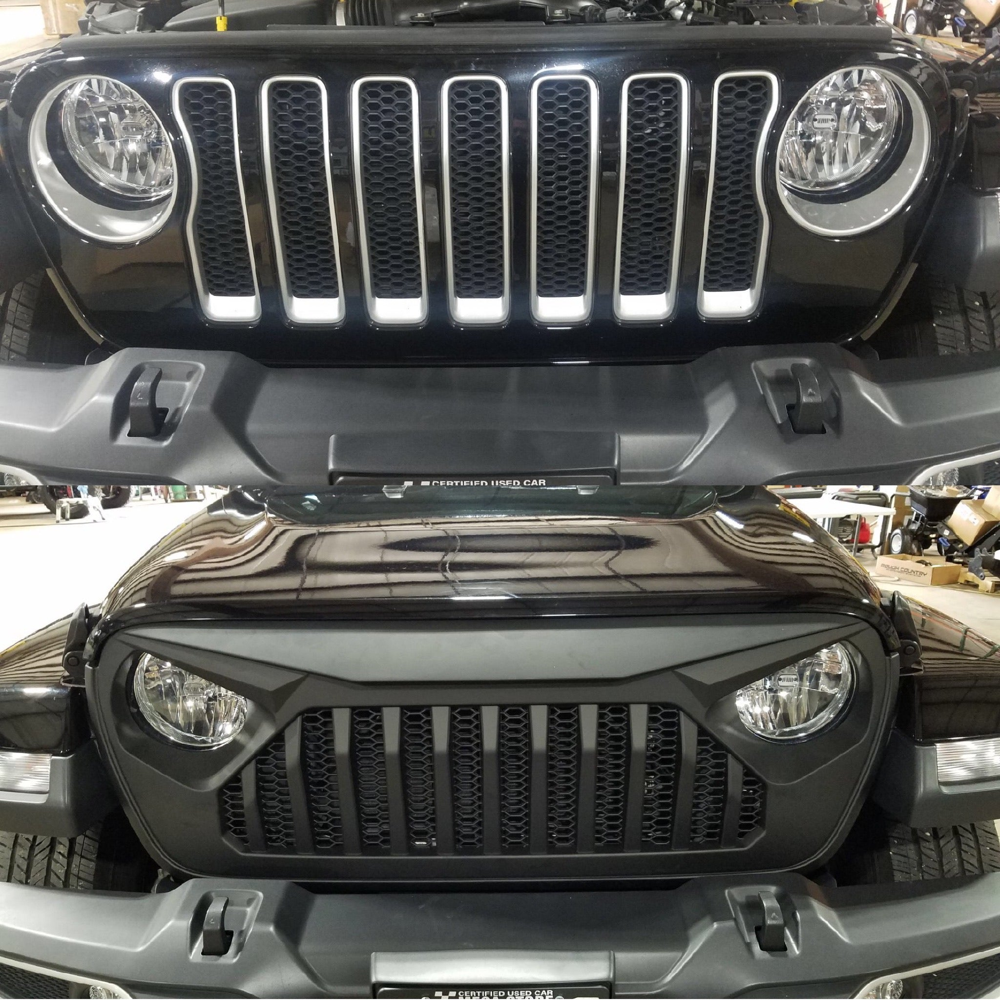 Jeep Wrangler Angry Eye Grille Install before and after