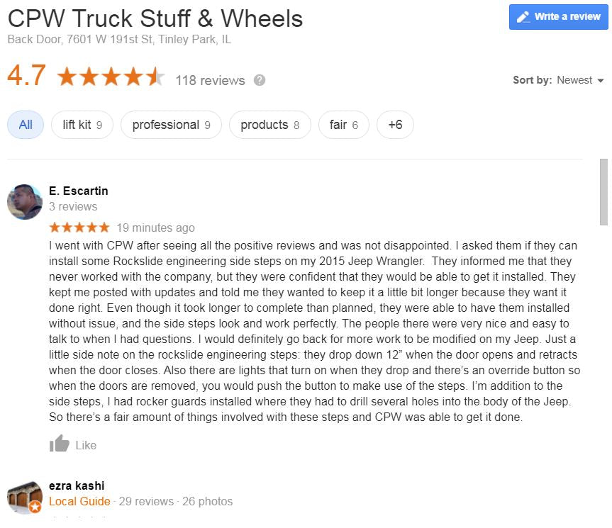 Top Rated CPW Truck Stuff Reviews on Google, Yelp & Facebook