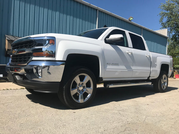 Chevy With 3 inch Rough Country lift on stock wheels and tires
