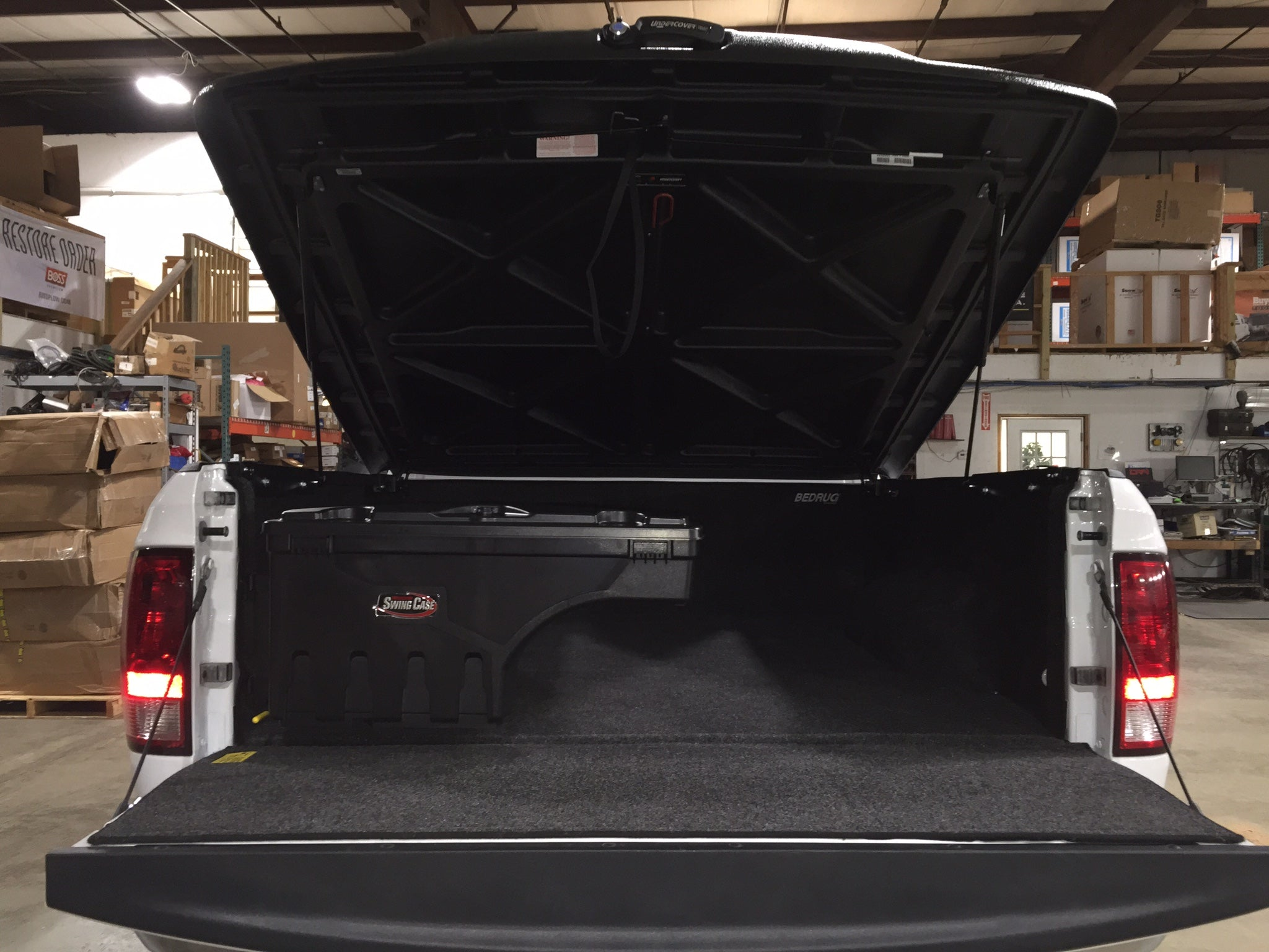 Bedrug Truck Bed Liner Installation with swing away toolbox