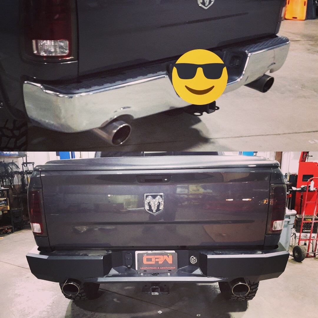 Before and after rear offroad bumper install