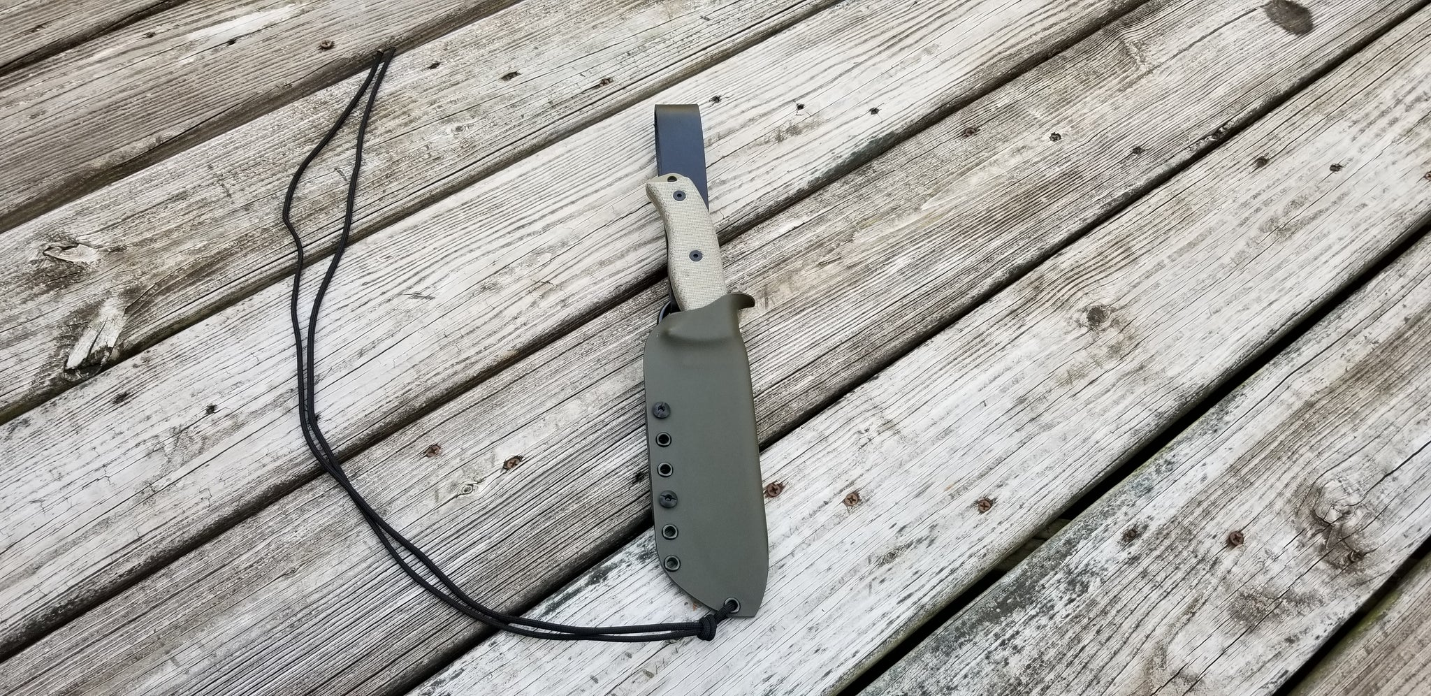 ESEE-6 Custom Kydex Sheath & Leather Loop Kydex Dangler and Paracord Lanyard