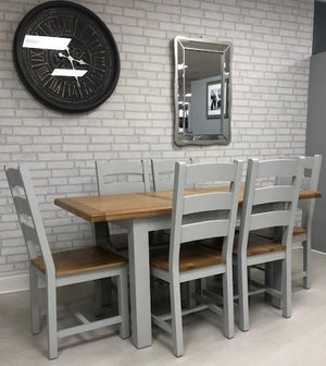 HARVEST GREY LARGE EXTENDABLE DINING SET