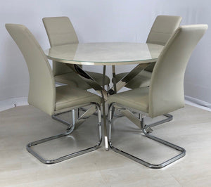 CAPRI CREAM DINING SET - TABLE +4 CHAIRS