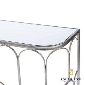 ODESSA MIRRORED CONSOLE TABLE - SILVER LEAF