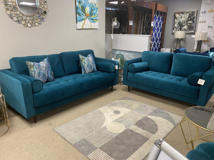 KATE 3 SEATER + 2 SEATER TEAL VELVET SUITE