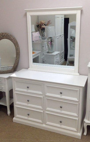 TRENT WHITE DRESSING CHEST AND MIRROR
